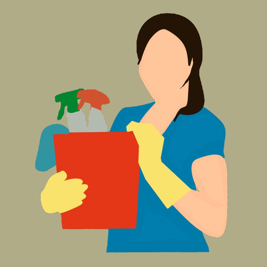 אישה עם חומרי ניקוי